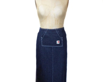 vintage 1990s FIORUCCI denim skirt / blue / cotton / maxi skirt / grunge club kid / women's vintage skirt / size small
