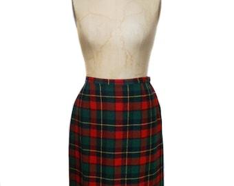 vintage 1960s PENDLETON plaid pencil skirt / red green yellow / wool / 60s pencil skirt / women's vintage skirt / size 14