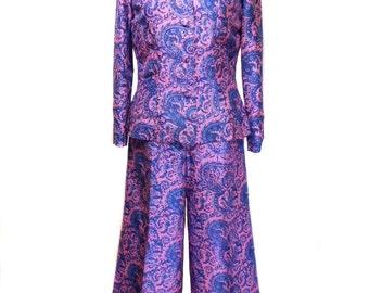 vintage 1970s silk paisley suit / Haseena / pink blue / Indian / blouse palazzo pants / women's vintage suit / size 13/14