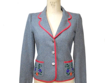 vintage 1970s floral embroidered blazer / Jordache / gray / wool blend / women's vintage jacket / size medium