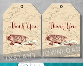 Vintage Airplane Favor Tags - Airplane Baby Shower - Vintage Baby Shower - Thank You Tags - Gift Tag - Digital Printable - INSTANT DOWNOAD