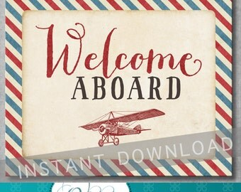 Welcome Aboard Sign - Vintage Airplane Baby Shower - Birthday - Baby Boy - Decoration - 8x10 inches - Digital - Printable - INSTANT DOWNLOAD