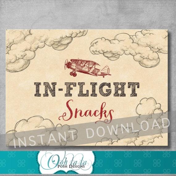 In Flight Snacks Sign Vintage Airplane Baby Shower