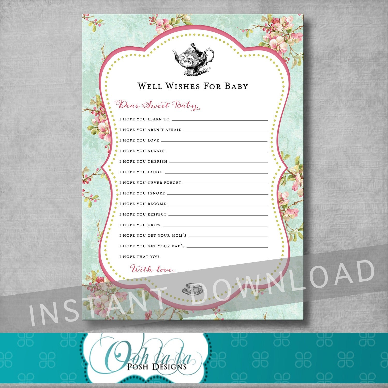 baby well wishes card baby shower tea party shabby chic