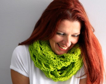 Infinity scarf eternity scarf in apple green, Callisto, winter fashion, ready to ship