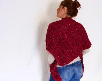 Chunky shawl, triangle shawl, asymmetrical shawl, chunky scarf, loose knit scarf in rubine red, vegan friendly, ready to ship
