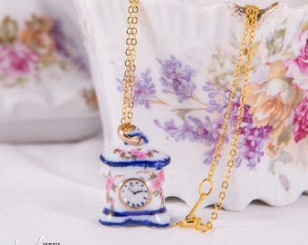 Unique porcelain clock pendant, precious porcelain gold or silver plated pendant with unique miniature porcelain clock, fashion necklace