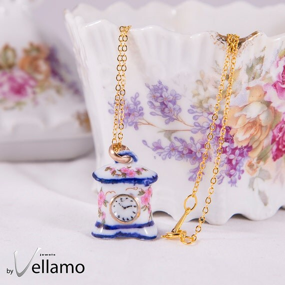 Unique porcelain clock pendant, precious porcelain gold or silver plated pendant with unique miniature porcelain clock, fashion necklace