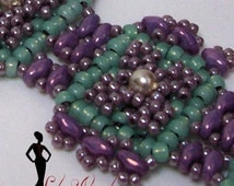 Beading Tutorials and Patterns Super Duo bead Bracelet,  Step by Step Instructions, Detailed Diagrams INSTANT DOWNLOAD