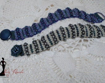 "Beading tutorial Peyote Stitch Cuff Style ""Hills and Valleys"" Bracelet INSTANT DOWNLOAD"