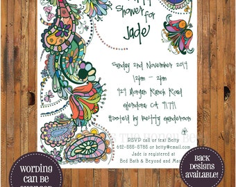 Paisley Bridal Shower Invitation - Whimsical - Bohemian - Boho - Bridal Brunch - Bridesmaid Lunch - Bridesmaid Luncheon - item 0087