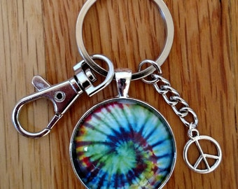 Tie Dye Keychain-Pendant-Necklace-Colorful-Tie Dye Swirl-Retro-Psychedelic-Hippie-Peace Sign Charm-Lobster Clasp-Glass Dome-Shiny Silver