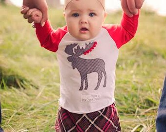 """Swanky Shank Baby """"Very Amoos-ing"""" Moose Baseball Tee; Moose Head; Moose Baby; Moose Antler; Moose Shirt; Christmas Shirt for boys and girls"""