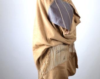 Cream Wrap Shawl - Wool and Leather Shawl - Big Scarf Shawl - Wool Wrap Shawl - Winter Accessories