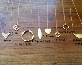 Choose Your Own Pendant! Brass Pendant on 14k Gold Fill Delicate Chain