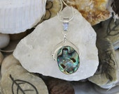 Reiki Attuned Abalone Shell Silver Pendant Necklace