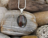 Reiki Attuned Tiger Iron Sterling Silver Pendant Necklace