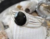 Reiki Attuned Black Onyx Silver Cuff Bracelet