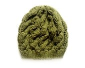 Olive Green Slouchy Beanie, Beanie Hat, Knit Beret, Winter Hat