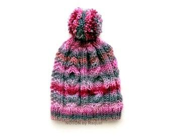 Pink and Grey Beanie, Knit Beanie Hat, Pom Pom Beanie, Winter Hat