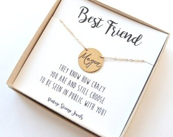 Best Friend Gift, Best friend Necklace,Personalized Necklace,Gift for Her, Name Disc Necklace,New Bride Gift,Initial Necklace Modern Wedding