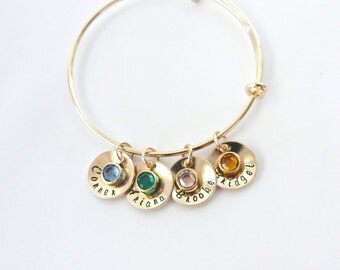 Gold Personalized Bangle, Grandma Gift, Gift for Mom, Gift from Husband, Birthstone Jewelry, mom Gift, Nana gift,Grandma birthstone