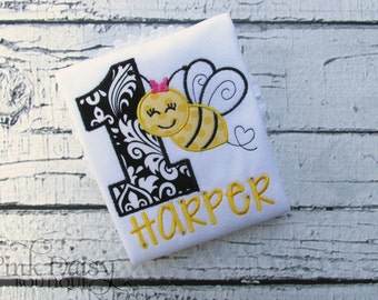 Birthday Shirt.  Black & Yellow Bumble Bee Birthday Shirt. Personalized Embroidered Birthday Shirt/Bodysuit. First Bee Day.