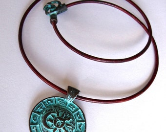 Zodiac Sign Necklace, Copper Pendant with Green Patina on a Leather Choker, Spiritual, BOHO, Tribal Style, Yoga, Meditation Jewelry