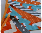 Foxes Garland, Gril Garland, Bunting Banner, Boy Nursery Decor, Boy Garland, Photo Prop,Baby Shower, Fabric Flags - Teal, Orange, Grey