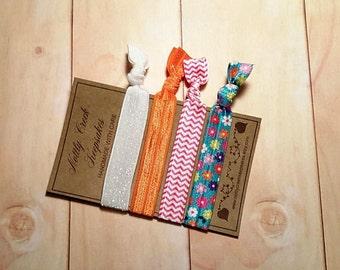Floral & Chevron Hair Tie Bracelet Set / Glitter Elastic Hair Bands / No Crease Hair Ties/ Hair Band Bracelet