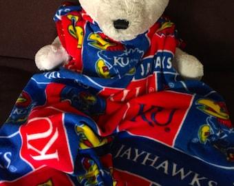 Kansas Jayhawks College Block Fleece Football Sports Baby Blanket 30X36