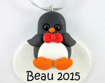 Personalized Penguin Christmas Ornament Polymer Clay