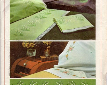 "1960s Lily of the Valley, ""His"", ""Hers"", Daisy Embroidery Transfers - Simplicity 7410"