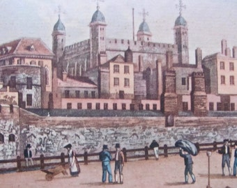 Tower of London, Antique Etching, Circa 1821, by R. Havell & Son, Audubon Birds Engraver, Rare, Historical, Ready to Hang