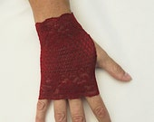 Red Lace Gloves  - Dark Cranberry Lace Fingerless Gloves .