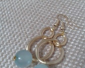 Irregular Interlocking Links with Powder Blue Pearl Dangle Earrings and Brushed or Matte Gold French Earloop Jewelry