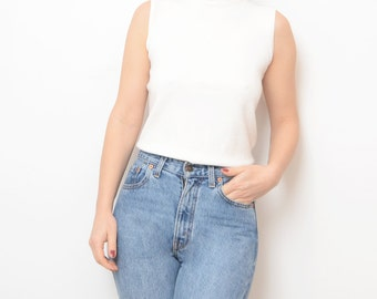 Vintage turtle neck sleeveless white 90s women top // small // wool top