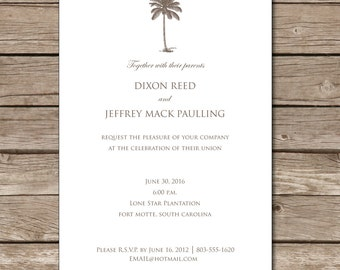 Palmetto Tree Wedding Invitation Love Marriage South Carolina Tree Custom Digital Printable