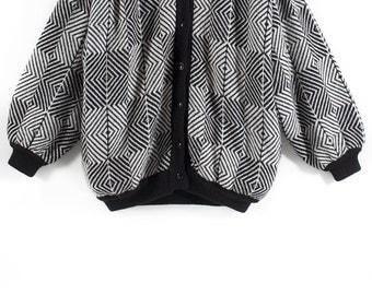 B&W cocoon cardigan // 80s // M/L size