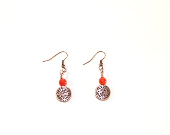 Antique copper earrings with swirl sun detailed charm beads and orange agate beads, boho earrings, rustic look earrings