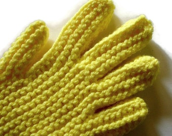 Hand Knit Gloves, Lemon Yellow Knitted Gloves With Fingers, Free US Shipping