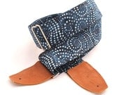 Starry Night Guitar Strap with Leather Ends