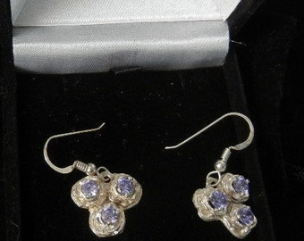 STERLING SILVER EARRING set with tanzanite cz 5mm faceted gems .60ct  gem weight