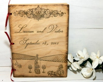 Personalized Wedding Guest Book, Personalized Album, Wedding Guest Books, Bride and Groom, Wine, Wine Theme Wedding, Vineyard, WineGlasses