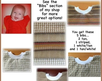 5 Towel bibs - brown set towel bibs, assorted towel bibs, brown bibs - boy - dish towel baby bib dish towel kitchen towel bib, tan baby