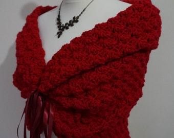 Red Shawl, Winter Wedding Shawl, Romantic Cover Up, Bridal Cape, Bridal Wrap, Crochet Shawl, Wedding Bolero, Red Jacket