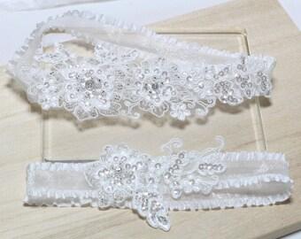 White Bridal Garter Set,  Lace Garter Set, Wedding Garter Set, Bridal Garter, White Garter Set