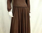Boho maxi dress long sleeve Oleg Cassini designer dresses Bohemian clothing 90s preppy drop waist long dress Casual checkered dress XS S 6