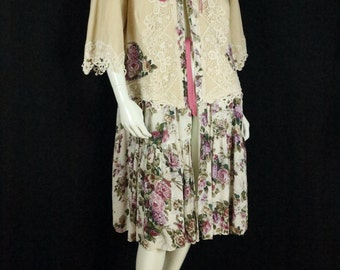 Plus size duster Upcycled boho clothing Refashioned linen tunic Women Bohemian tops artsy clothes Rayon romantic 3/4 sleeve floral dress  1X