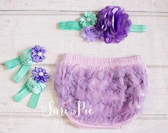 Baby Ruffle Bloomers set ..Cake Smash Outfit..Under the Sea Aqua Lavender Purple Lace Ruffle Bum Baby Bloomer..Diaper Cover..Ruffle Bloomer